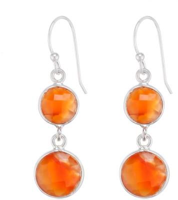 Aarohee Orange sparkle Sterling Silver Dangle Earring