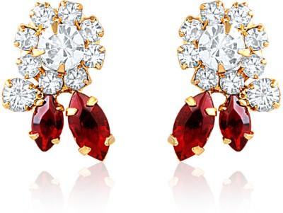 Oviya Red Statement Crystal, Ruby Alloy, Brass Stud Earring