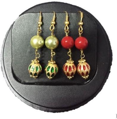 Kanishk Creations Colourful Designer Danglers Pearl Alloy Dangle Earring
