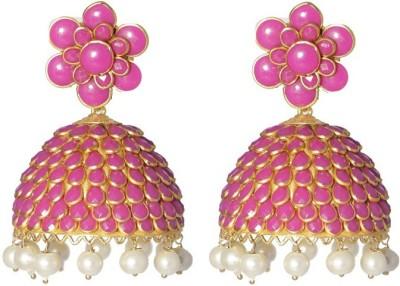 LE Floral Alloy Jhumki Earring