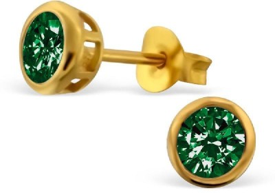 Maayin Round- Green Sterling Silver Stud Earring
