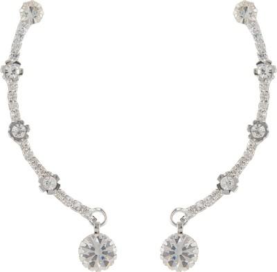 Pankh Diamond Studded Silver Brass Cuff Earring