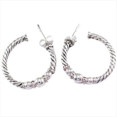 925 Silver Circular Design Silver Hoop Earring