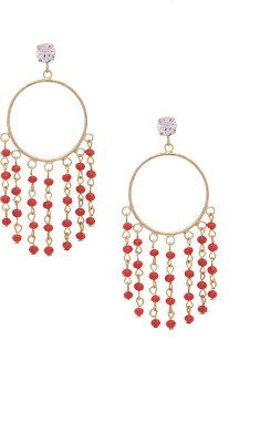 Sankisho Red Statement Metal, Alloy, Glass Hoop Earring