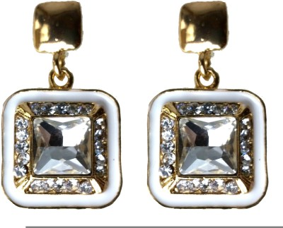 Modish Look White Square Traditional Brass Drop Earring