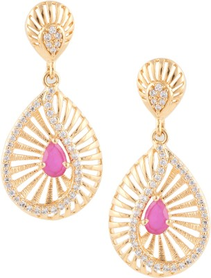 Beautiart Ruby Cubic Zirconia Alloy Drop Earring