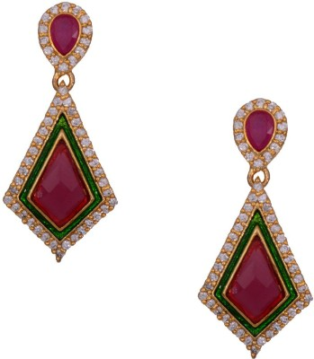 Mahaveer Pearls Stylish Deep-Colored Brass Drop Earring