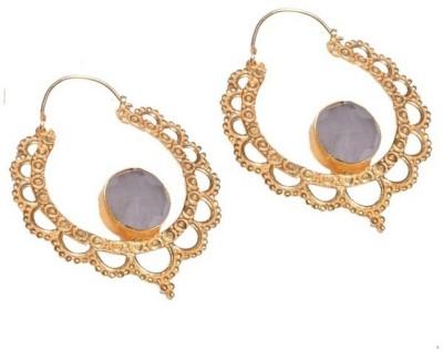 Gharaz Gold plated bali with semi precious stone Brass Drop Earring