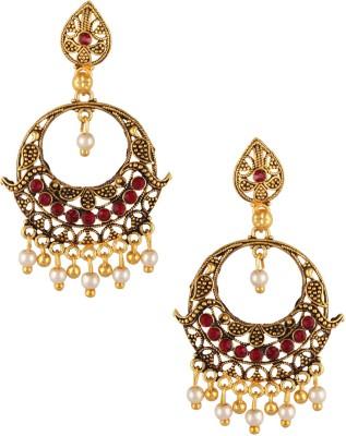 Fashionaya Red Hoop Cubic Zirconia Brass Drop Earring