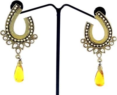 Kaass Yellow Oval Carnelian, Crystal Alloy Drop Earring