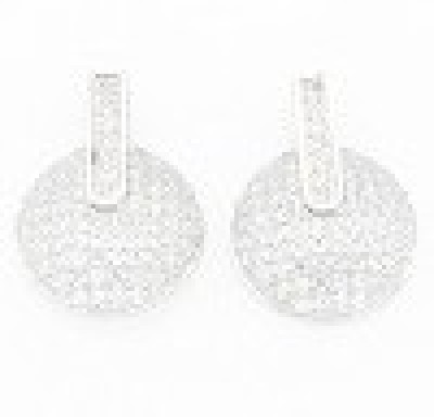 Glitz Design GlitzDesign Round Shaped Earrings Cubic Zirconia Sterling Silver Stud Earring