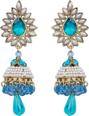 Mitthi Jewels Party Wear Blue Traditional Type Designer Earrings Alloy Drop Earring