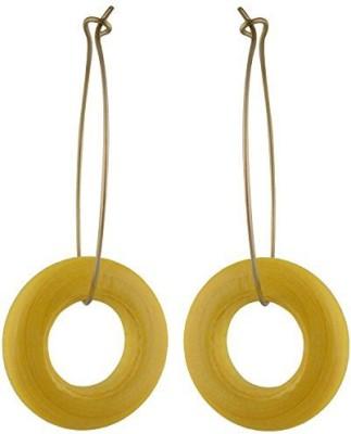 TrinketsANDTreasures Yellow Wooden Ring Wood Dangle Earring