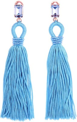 Young & Forever Long Silk Tassel Alloy, Fabric Tassel Earring