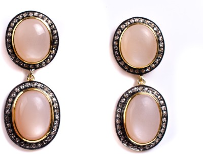 My DT Lifestyle Victorian Style EARING Moonstone Yellow Gold Drop Earring
