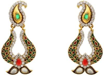 Aaishwarya Traditional Paisley Design Meenakari Colourful Crystal Brass Chandbali Earring