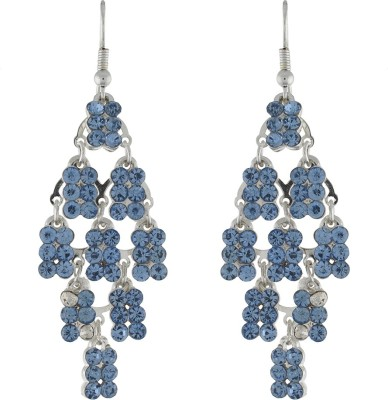 One Stop Fashion Glittering And Dazzling Blue Colour Alloy Dangle Earring
