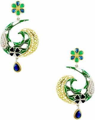 Orniza Black Rhodium Classic Earrings with Emerald Blue Drops Brass Drop Earring
