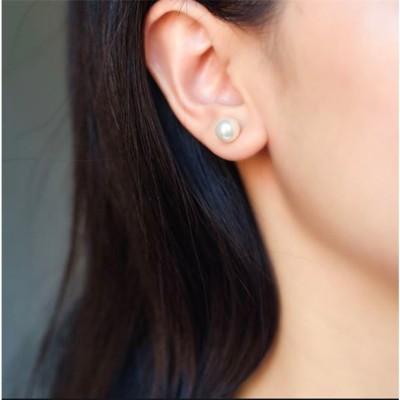 Aadalika 8mm White Pearl Piercing Crystal Alloy Stud Earring