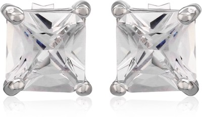 Om Jewells Classic Square Cubic Zirconia Sterling Silver Stud Earring