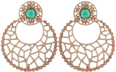 Grandiose Bali Filigree Antique Rhodium Plated Green Copper Chandbali Earring