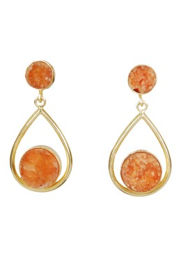 Studio B40 drop earrings with double level druzy stones Brass Dangle Earring