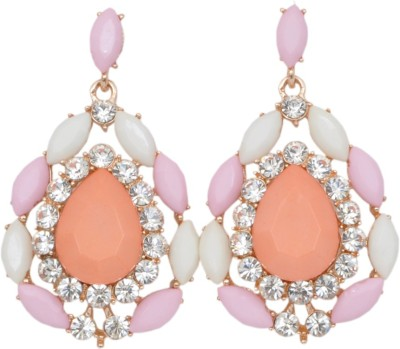 WoW White, Pink And Orange Crystal Alloy Drop Earring