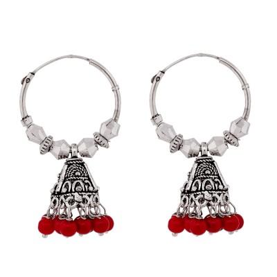 Gems N Pearls Traditional German Silver Jhumki Earring