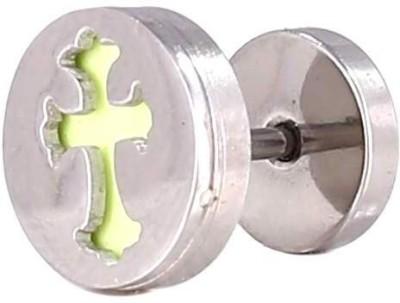 Little Goa Silver Greeb Cross in Circle Body Piercing-10 mm Metal Plug Earring