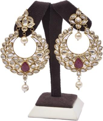 Adara Jewels Kundan Dangler With Moti Pearl Silver Chandelier Earring