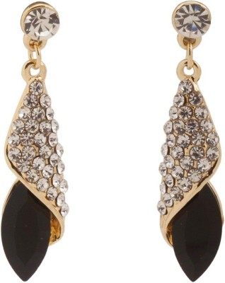 RIANZ Latest Elegant Gold Plated Black Color Stone and Crystals Alloy, Crystal Dangle Earring