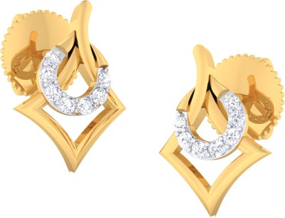 Gold n Stone Decorated Kite Cubic Zirconia Sterling Silver Stud Earring