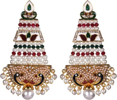 Tatva Rajwadi Enamel With Peacock And Exquisite Hand Work Of Pearl Earrings Alloy Drop Earring