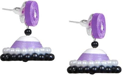 Scion Purple Peace Qulling Paper Jhumki Earring