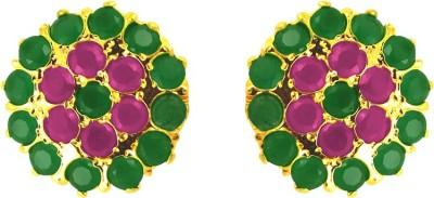 JPearls Garnet Cubic Zirconia Alloy Stud Earring