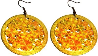 Krishna Mart A Pair Of Indian Brass Metal Floral Boho Danglers Earrings Brass Dangle Earring