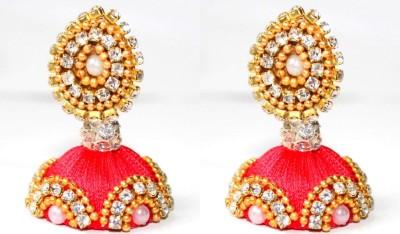 Craftworks red color jimuka Silk Dori Jhumki Earring