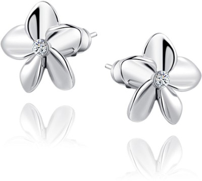 Kaizer Jewelry Cubic Zirconia Alloy, White Gold Stud Earring