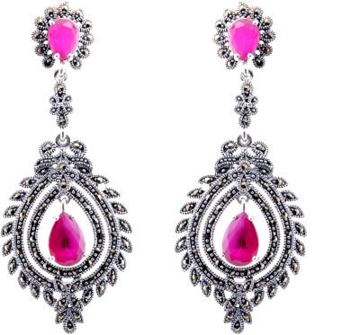 Aashirwad Markasite Pink Drop Silver Drop Earring