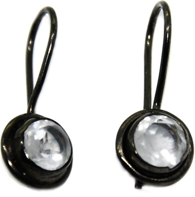 Casa De Plata Round Black Crystel Brass Earring Crystal Brass Dangle Earring