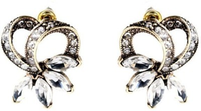 Fabula Gold & White Crystal Floral Jewellery for Women & Girls Metal Stud Earring