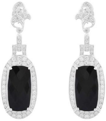 VelvetCase Onyx and Topaz Gemstone Silver Earrings Onyx Silver Hoop Earring