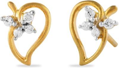 Araanz by Tribhovandas Bhimji Zaveri Delhi Bloomy Love Yellow Gold 18kt Diamond Stud Earring