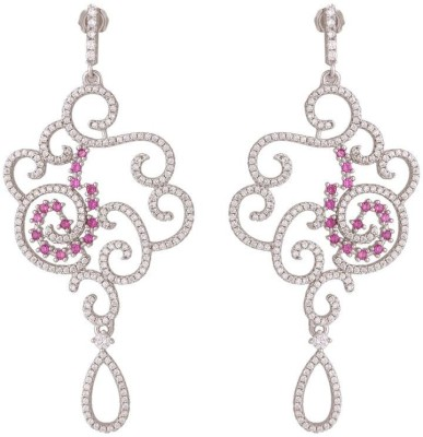 TUAN handcrafted designer Cubic Zirconia, Ruby Sterling Silver Chandelier Earring