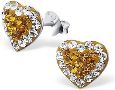 Maayin Heart - Yellow Crystal Silver Stud Earring