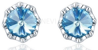 Nevi Simple Blue Circular Swarovski Crystal, Crystal Alloy, Crystal Stud Earring