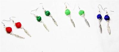 Karukala Thread-Ball_metal Leaf Fabric, Alloy Earring Set