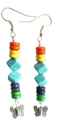 Bohocraft Bohemian Square Turquoise, Wooden Dumbells, Silver Butterfly Wood Dangle Earring