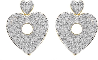 Jewelskaro Dangling Antique Designer American Diamond Heart Shape Fashion Jewelry Designs Brass Dangle Earring