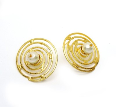 Seven Jewels Coral Blast Pearl Brass, Alloy Stud Earring